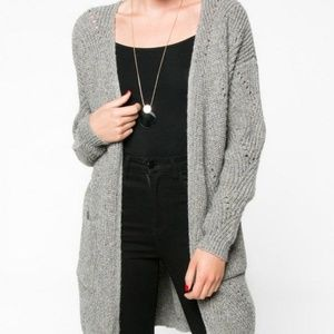 Everly Grey Long Cardigan with Pockets